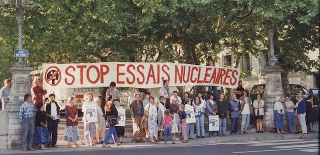 Demonstration in Lyon, France in the 1980s against nuclear weapons tests. /Wikimedia Commons.