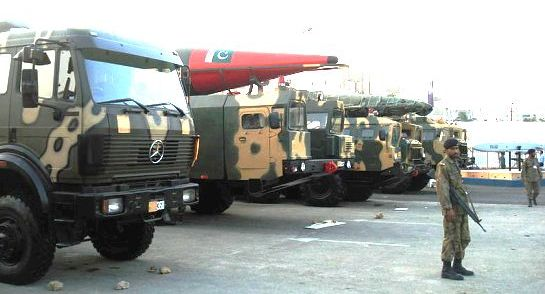 Truck-mounted Missiles on display at the IDEAS 2008 defence exhibition in Karachi, Pakistan.