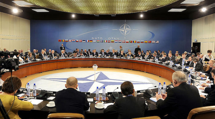 Photo: US Defense Secretary Robert M. Gates and other members of NATO Ministers of Defense and of Foreign Affairs meet at NATO headquarters in Brussels, Belgium, Oct. 14, 2010.