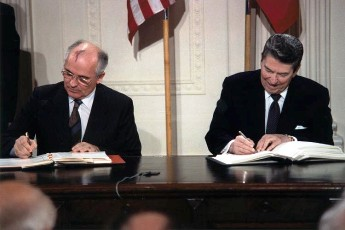 Photo: Soviet General Secretary Gorbachev (left) and President Reagan (right) signing the INF Treaty in the East Room of the White House in December 1987. Credit: Wikimedia Commons.
