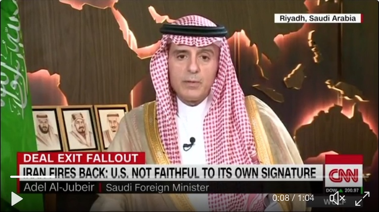 Photo: Saudi Arabia's foreign minister Adel Al-Jubeir told CNN on May 9 that his country stands ready to build nuclear weapons if Iran restarts its nuclear program. @CNNPolitics