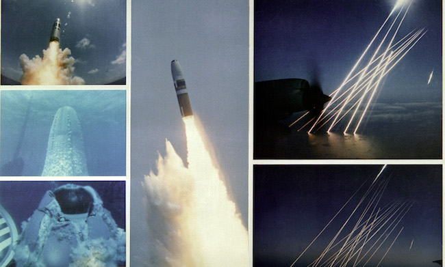 Montage of an inert test of a United States Trident SLBM (submarine launched ballistic missile), from submerged to the terminal, or re-entry phase, of the multiple independently targetable reentry vehicles. /Wikimedia Commons.