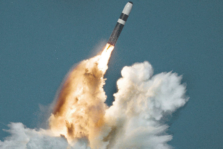 Photo: A Trident missile launched from a submerged ballistic missile submarine. Source: Wikimedia Commons.