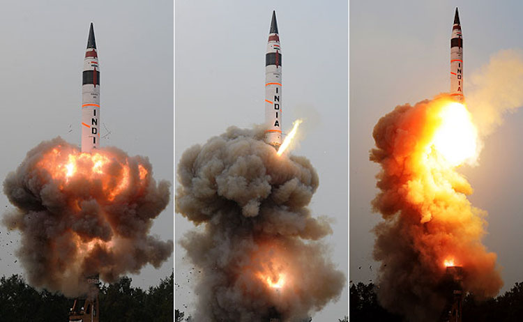 Photo: India's longest range nuclear capable missile Agni-5 was successfully test fired from the Kalam Island off Odisha coast on January 18 by the Defence Research and Development Organisation (DRDO). Source: NDTV