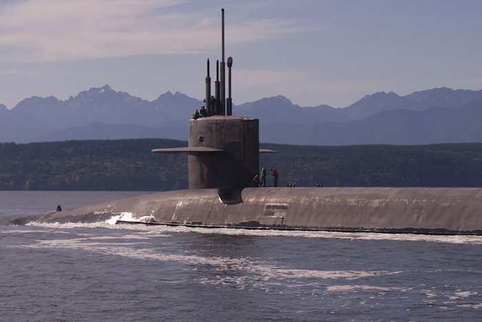 Photo: The Ohio-class ballistic missile submarine USS Louisiana transits the Hood Canal in Puget Sound, Wash., Oct. 15, 2017, as it returns to its homeport following a strategic deterrent patrol. Photo By: Navy Lt. Cmdr. Michael Smith | DOD