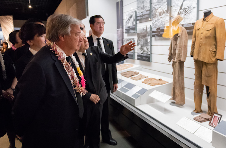 Photo: Secretary-General António Guterres (front left) views an exhibit at the Nagasaki Atomic Bomb Museum on 9 August 2018. UN Photo/Daniel Powell