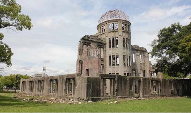 he Hiroshima Peace Memorial, commonly called the Atomic Bomb Dome or A-Bomb Dome is part of the Hiroshima Peace Memorial Park in Hiroshima, Japan and was designated a UNESCO World Heritage Site in 1996. Credit: Tim Wright.