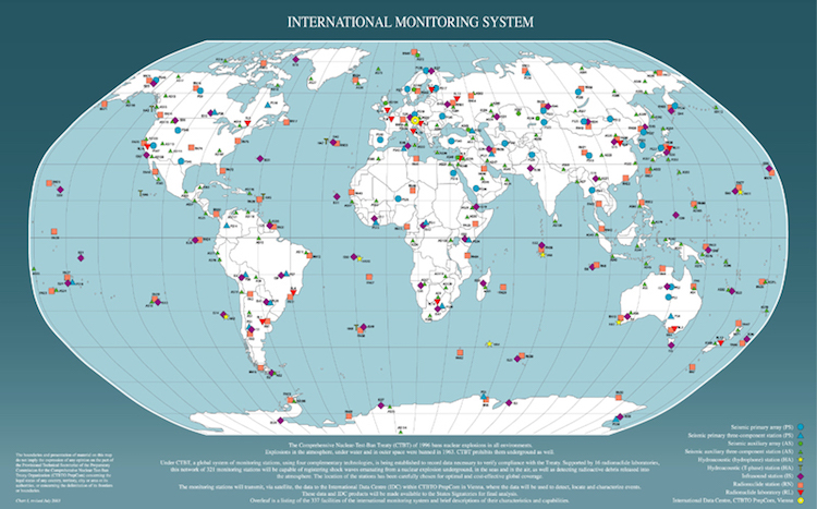 Image: International Monitoring System with 337 Facilities – 90%+ complete. Source: CTBTO.