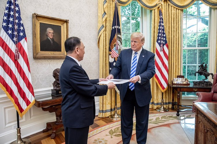 Photo: North Korea's Vice Chairman Kim Yong Chol delivers a personal letter from Chairman Kim to President Trump, in the White House Oval Office on June 1, 2018. Credit: Wikimedia Commons.