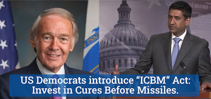 Photo: US Democrats—Senators Markey and Khanna—introduce ICBM Act: Invest in Cures Before Missiles. Credit: UNFOLD ZERO   PNND.