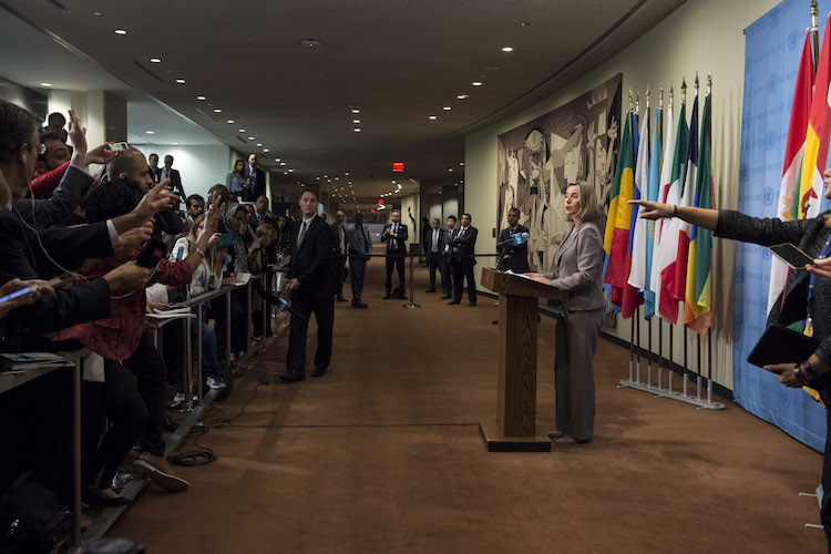 Photo: Federica Mogherini, European Union High Representative for Foreign Affairs and Security Policy, speaks to journalists following meeting of the