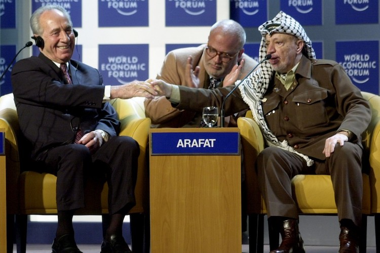 Photo: Twenty-five years since the 1994 Nobel Peace Prize shared by Prime Minister Yitzhak Rabin and Israeli Foreign Minister Shimon Peres with PLO Chairman Yasser Arafat –Credit: CC BY-SA World Economic Forum.