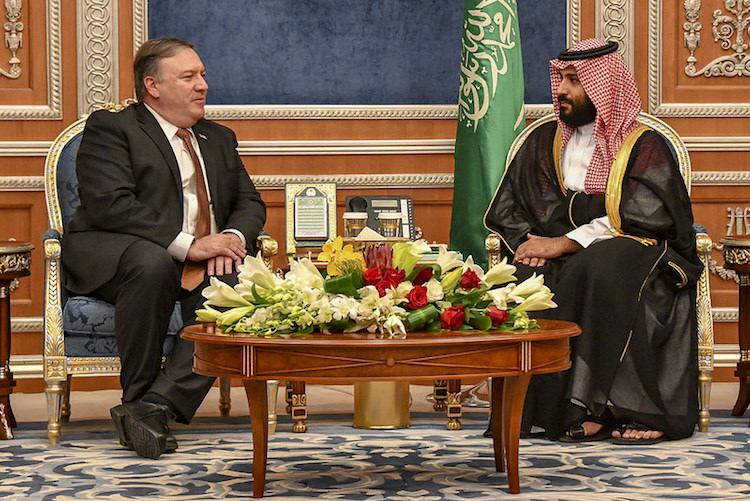 Photo: Secretary of State Michael R. Pompeo meets with Saudi Crown Prince Mohammed bin Salman, in Riyadh, Saudi Arabia, on October 16, 2018. [State Department photo by Ron Przysucha/Public Domain]