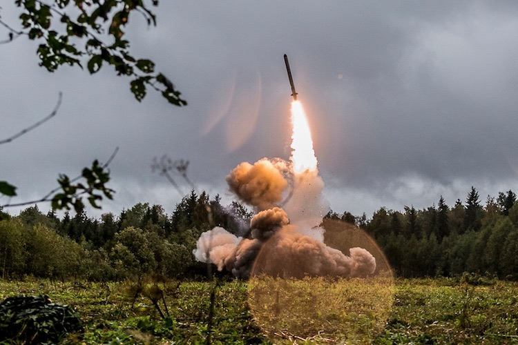 Photo: Russia's 9M729 missile reportedly has been tested using a mobile launcher system similar to that used by the 9K720 Iskander-M pictured here on September 18, 2017. Photo credit: Ministry of Defence of the Russian Federation