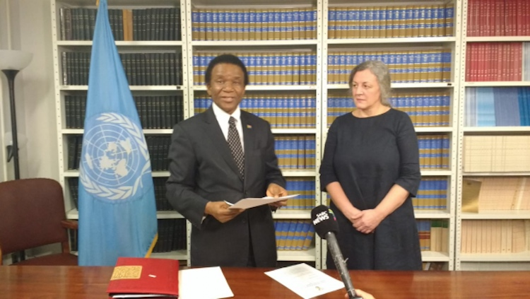 Photo: South Africa deposits its instrument of ratification of the Treaty on the Prohibition of Nuclear Weapons. New York | Feb 25, 2019. Credit: ICAN