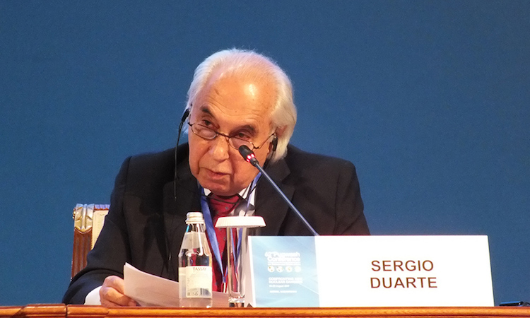 Photo: Sergio Duarte speaks at the August 2017 Pugwash Conference on Science and World Affairs held in Astana, Kazakhstan. Credit: Pugwash.