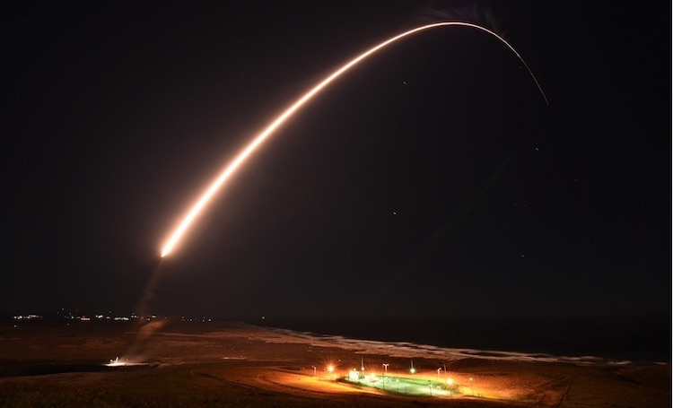 Photo: An Air Force Global Strike Command unarmed Minuteman III intercontinental ballistic missile launches during an operation test at 11:49 p.m. PT Feb. 23, 2021, at Vandenberg Air Force Base, Calif. (Brittany E. N. Murphy/Space Force)