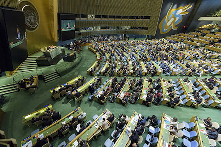 Photo: Wide view of the General Assembly Hall. UN Photo/Manuel Elia