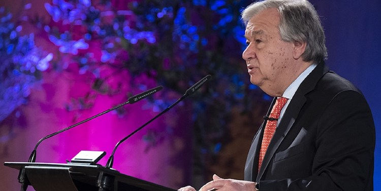 Photo: UN Secretary-General António Guterres speaks at the University of Geneva, launching his Agenda for Disarmament, on 24 May 2018. UN Photo/Jean-Marc Ferre.
